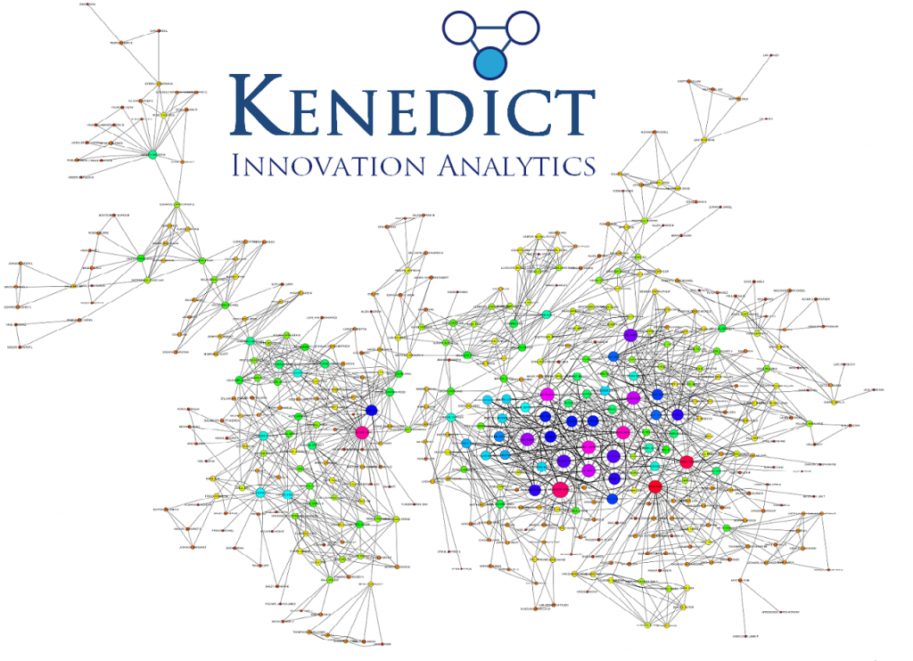 A visualization of the largest cluster in Microsoft's design inventor network